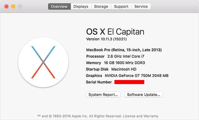 Cấu hình và thông tin số Serial Number Macbook